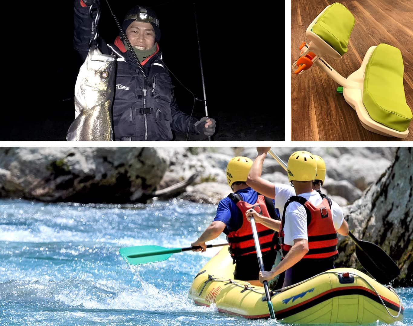 釣りをしている社員、介護機器、笑顔の親子